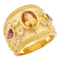 Sincerely Yours, Karen Sterling Silver Yellow Gold Plate Citrine, Rhodolite & White Topaz Ring