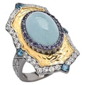 Sincerely Yours, Karen Sterling Silver Multi-Gemstone Textured Ring