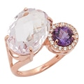 Sincerely Yours, Karen Sterling Silver Rose Gold Plate Pink Amethyst, Amethyst & White Topaz Ring
