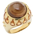 Sincerely Yours, Karen Sterling Silver Yellow Gold Plate Smokey Quartz & Citrine Ring