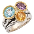 Sincerely Yours, Karen Sterling Silver Amethyst, Citrine & Sky Blue Topaz Ring