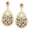 Sincerely Yours, Karen Sterling Silver Multi-Gemstone Drop Earrings