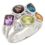 Sincerely Yours, Karen Sterling Silver Multi-Gemstone Ring