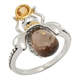 Sincerely Yours, Karen Sterling Silver Smoky Quartz & Citrine Bee Ring