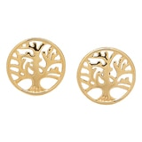 Sincerely Yours, Karen Sterling Silver Yellow Gold Plate Tree of Life Earrings
