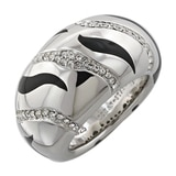 Sterling Silver Diamonelle & Black Enamel Ring