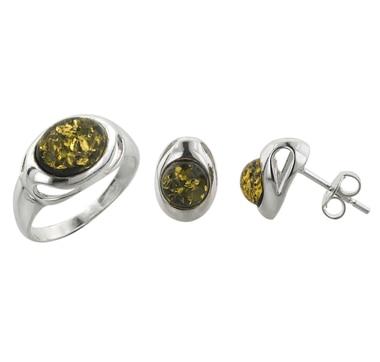 Ensemble de boucles d'oreilles et bague en argent Sterling et pierres d'ambre