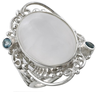 Sterling Silver Selenite & Topaz Ring
