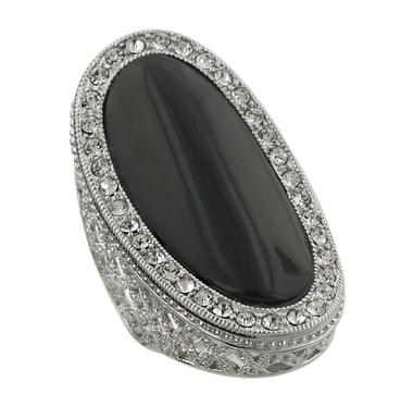 Sterling Silver & Rhodium Plate Black Onyx & Crystal Ring