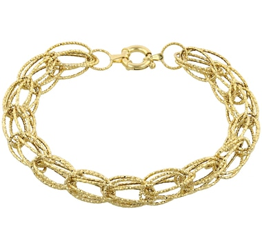 "14K Gold Diamond Cut Multi Oval Link 8"" Bracelet"