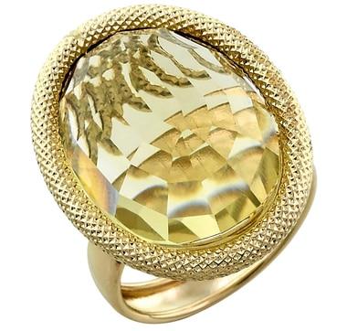 Bague Preziosa en or jaune 14 ct ornée d'un quartz de 20 mm x 15 mm