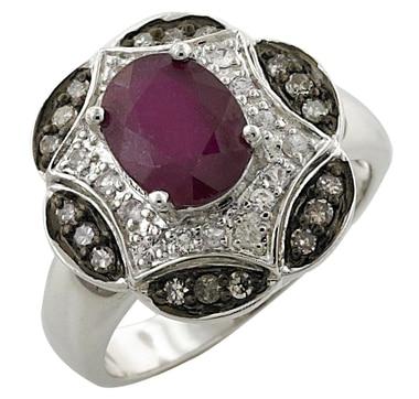 Bague en argent Sterling avec similis rubis et diamants