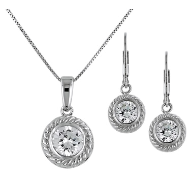 Diamonelle Sterling Silver Pendant with Chain & Earrings