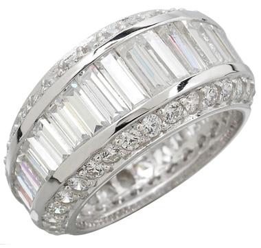 Bague éternité Sterling Diamonelle ornée de similidiamants ronds et à taille baguette