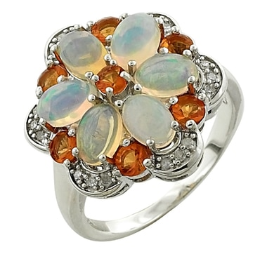 Gemstone & Diamond Sterling Silver Ring