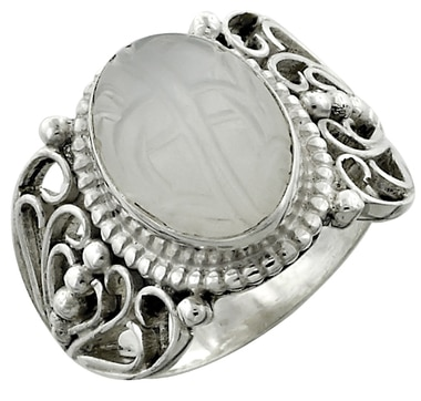 Himalayan Gems Floral Carved Moonstone Sterling Silver Ring