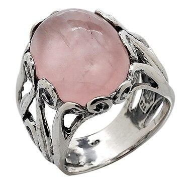 M.A.D.E.  Jewellery Rose Quartz Sterling Silver Scroll Ring