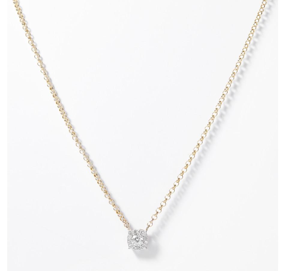 Image 207910_YGL.jpg , Product 207-910 / Price $799.99 , EVERA Diamonds 14K Gold 0.35ctw Diamond Halo Pendant with Chain from Evera Diamonds on TSC.ca's Jewellery department