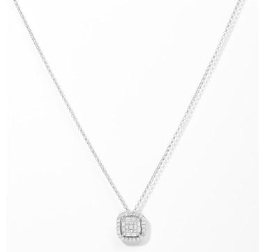 14K Gold 1.00ctw Cushion Shape Diamond Pendant with Chain