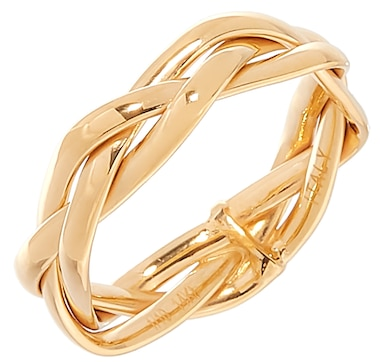 2begold Jewellery 14K Yellow Gold and Sterling Silver Braided Band Ring