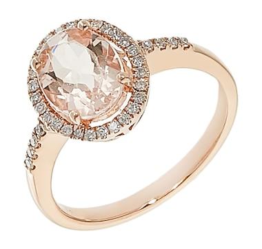 10K Rose Gold 8x6mm Oval Morganite & Diamond Halo Ring