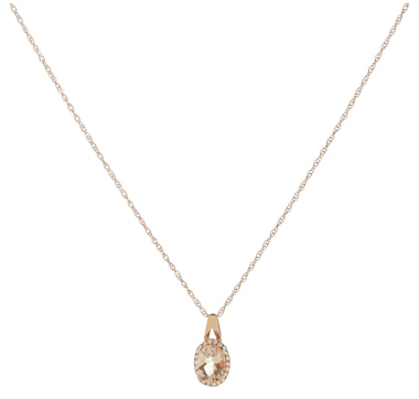 10K Rose Gold 8x6mm Oval Morganite & Diamond Pendant with Chain