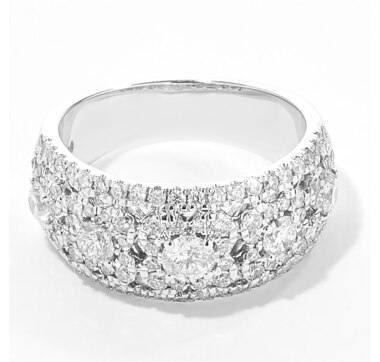 14K White Gold 1.20ctw Diamond Wide Band Ring
