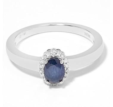 Gem Creations 14K Gold Precious Gems & Diamond Halo Ring