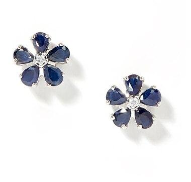 Gem Creations 14K Gold Precious Gems & Diamond Flower Earrings