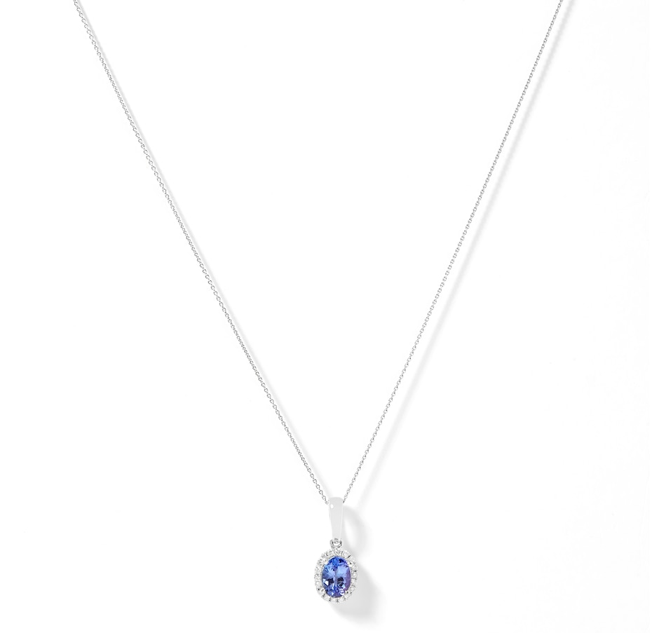 Image 209070.jpg , Product 209-070 / Price $749.99 , Gem Creations 10K White Gold 5x7mm Oval Tanzanite & Diamond Pendant from Gem Creations on TSC.ca's Jewellery department