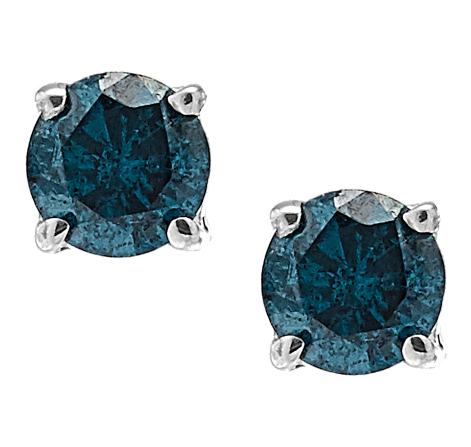 Image 218155_BLU.jpg , Product 218-155 / Price $149.99 , Sterling Silver Coloured Diamond Solitaire Studs from Colours of Diamonds on TSC.ca's Jewellery department