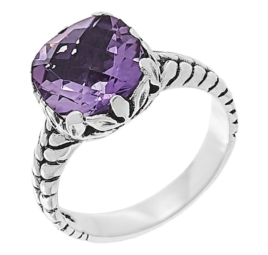 Samuel B Collection Sterling Silver 10MM Cushion Shape Gemstone Ring