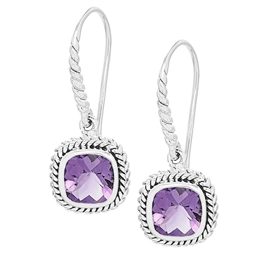 Samuel B Collection Sterling Silver Cushion Shape Twist Rope Design Earrings
