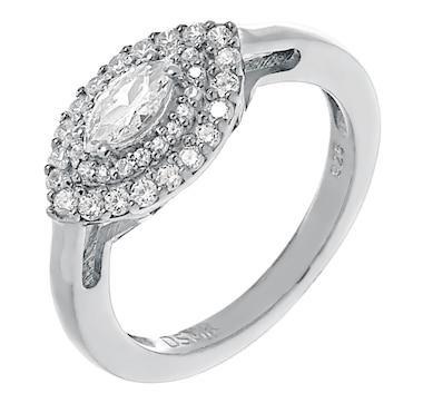 Deborah Freund Designs Sterling Silver Cubic Zirconia Evil Eye Ring