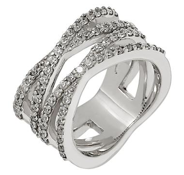 Deborah Freund Designs Sterling Silver Cubic Zirconia Negative Space Criss Cross Ring