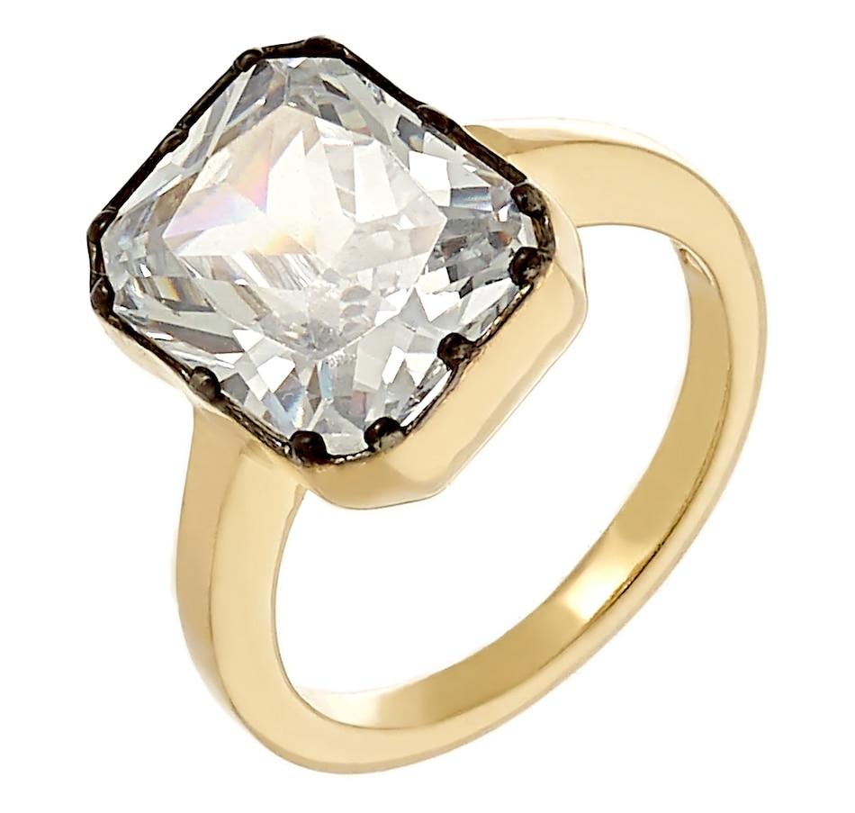 Image 218406.jpg , Product 218-406 / Price $119.99 , Deborah Freund Designs Sterling Silver Two Tone Emerald Cut Cubic Zirconia Ring from Deborah Freund Designs on TSC.ca's Jewellery department