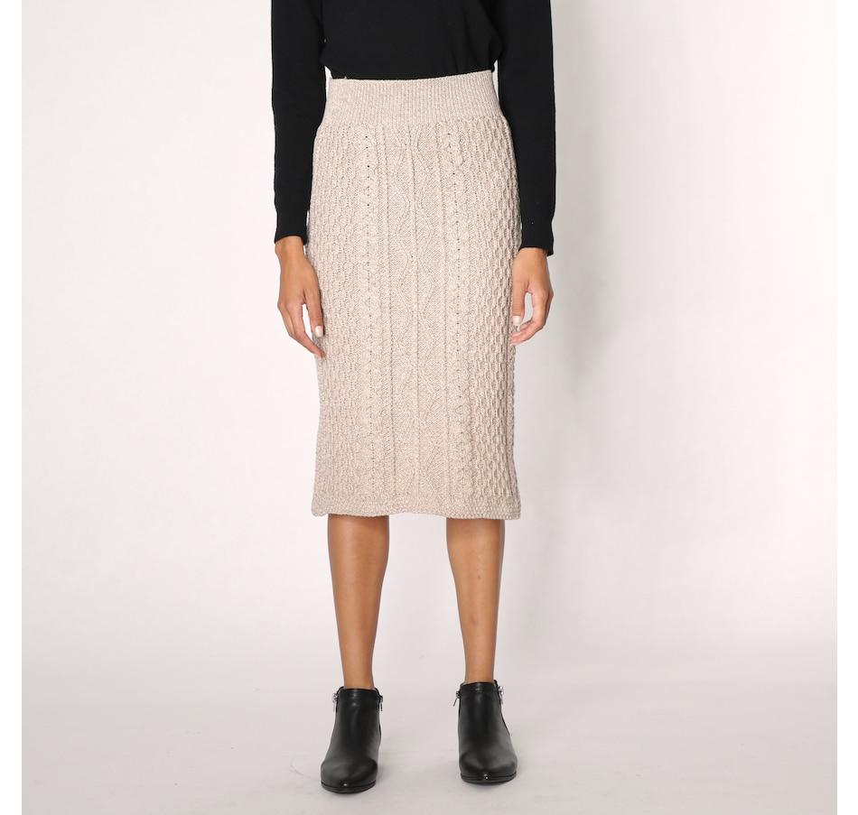 Image 228963_WCKR.jpg , Product 228-963 / Price $129.99 , Aran Woollen Mills Merino Midi-Length Skirt from Aran Woollen Mills on TSC.ca's Clothing & Shoes department