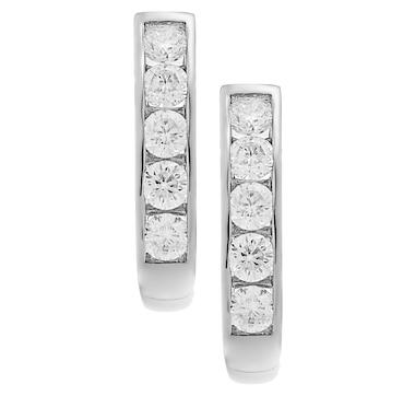 Inspire Diamonds 14K Gold Diamond J-Hoop Earrings