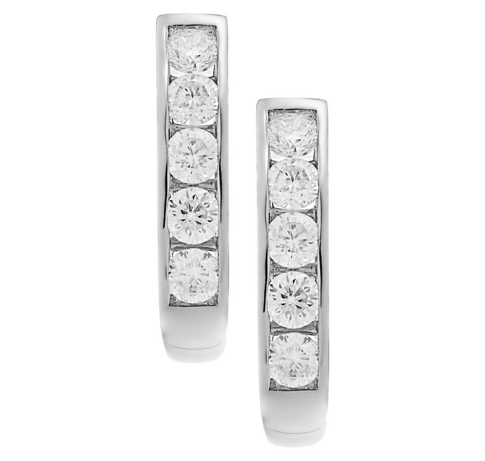 Image 232407_WG1CT.jpg , Product 232-407 / Price $1,239.99 - $2,599.99 , Inspire Diamonds 14K Gold Diamond J-Hoop Earrings from Inspire Diamonds on TSC.ca's Jewellery department