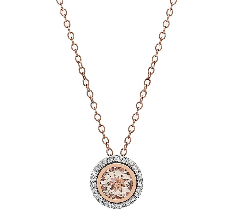 Image 232811_RGLMG.jpg , Product 232-811 / Price $999.99 , Gem Creations 14K Gold 6mm Exotic Gemstone & Diamond Round Halo Necklace from Gem Creations on TSC.ca's Jewellery department