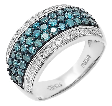 Colours of Diamonds Sterling Silver 1.25ctw Blue & White Diamond Ring
