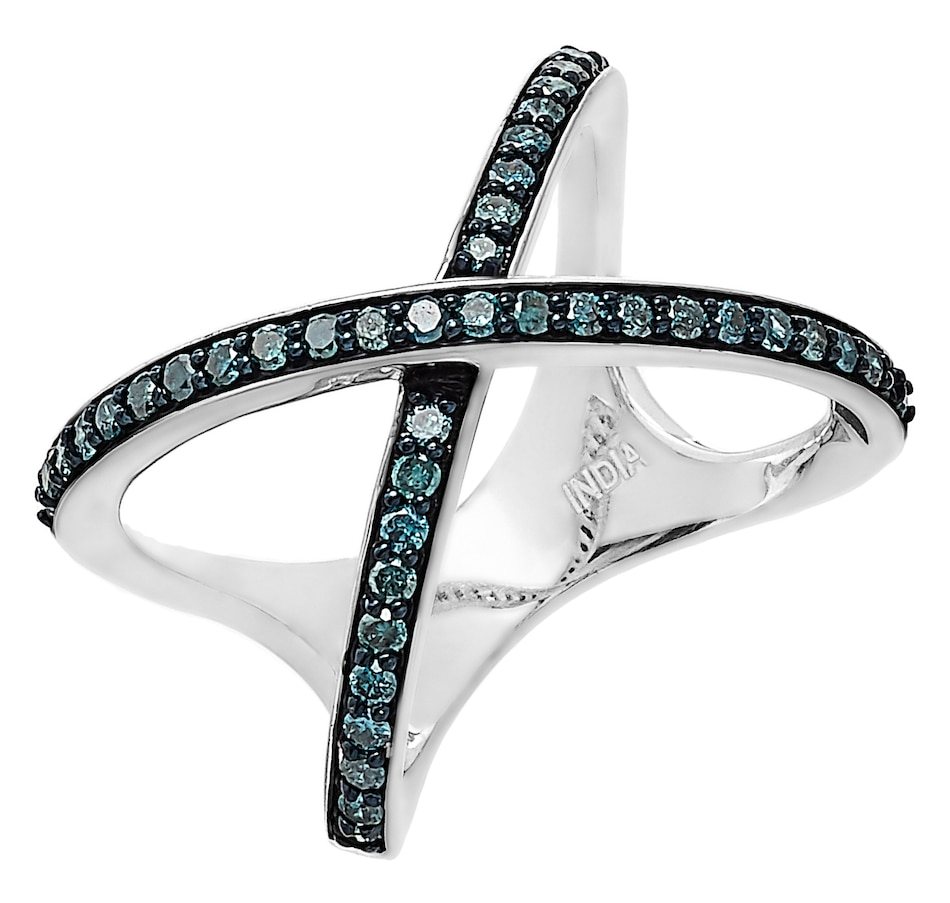 Image 232885_BLU.jpg , Product 232-885 / Price $279.99 , Colours of Diamonds Sterling Silver 0.50ctw Diamond X Ring from Colours of Diamonds on TSC.ca's Jewellery department
