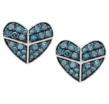 Colours of Diamonds Sterling Silver Blue Diamond Heart Earrings