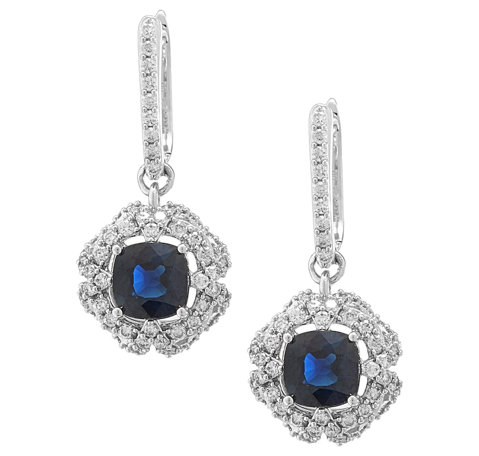 Image 232898.jpg , Product 232-898 / Price $3,499.99 , Gem Creations 14K White Gold 6mm Cushion Cut Blue Sapphire & Diamond Drop Earrings from Gem Creations on TSC.ca's Jewellery department