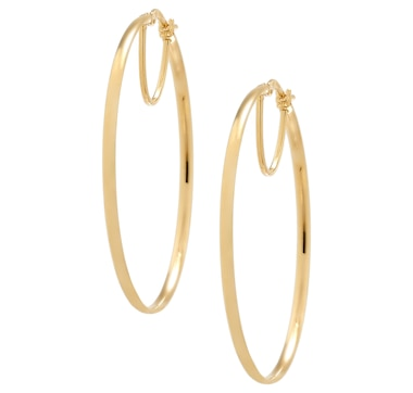 2begold Jewellery 14K Yellow Gold and Sterling Silver Flat Hoop Earrings