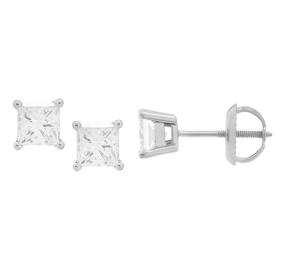 Image 233441_WGL.jpg , Product 233-441 / Price $769.99 - $7,799.99 , 18K Gold Princess Cut Diamond Earrings from Diamond Show on TSC.ca's Jewellery department