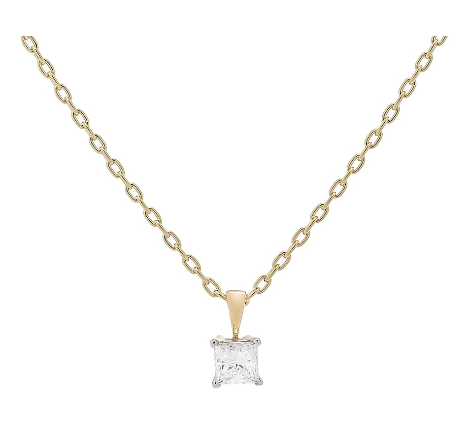 Image 233442_YGL.jpg , Product 233-442 / Price $4,999.99 , 18K Gold Princess Cut Diamond Pendant with Chain from Diamond Show on TSC.ca's Jewellery department
