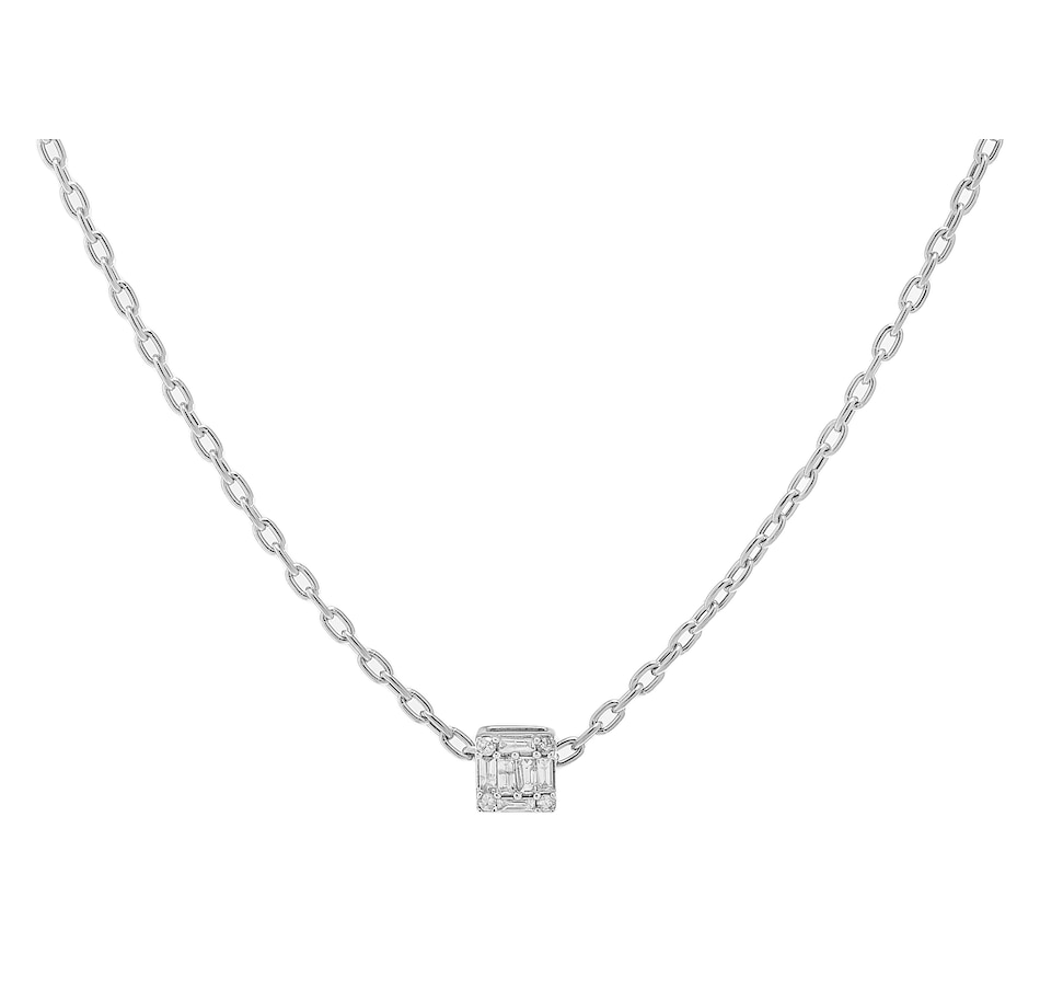 Image 233444_WGL.jpg , Product 233-444 / Price $649.99 , 18K Gold 0.12ctw Round & Baguette Shape Diamond Pendant with Chain from Diamond Show on TSC.ca's Jewellery department