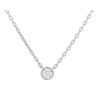 18K Gold Bezel Set Diamond Solitaire Necklace