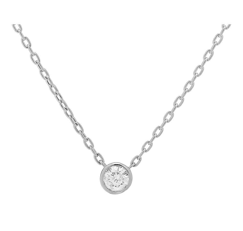 Image 233449_WGL.jpg , Product 233-449 / Price $949.99 - $6,199.99 , 18K Gold Bezel Set Diamond Solitaire Necklace from Diamond Show on TSC.ca's Jewellery department